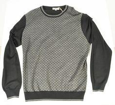 New With Tags Canali Black & Gray Merino Wool Long Sleeve Sweater Size 56 US XXL #Canali #Crewneck #ShopClaudias $249.95