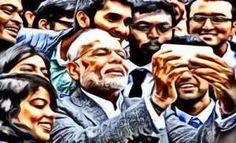 इंडियन झूठमूठ एक्सप्रेस अखबार - मोदी का सेल्फ़ी प्रेम