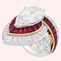 Treasure of Rubies – High Jewelry – Van Cleef & Arpels - Fine jewelry Bijoux Van Cleef And Arpels, High Jewelry, Jewellery, Pear Shaped Diamond, Short Necklace, Diamond Are A Girls Best Friend, Ruby Red, Indian Jewelry, Or Rose