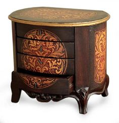 Handcrafted Colonial Wood Jewelry Box - Damsel | NOVICA