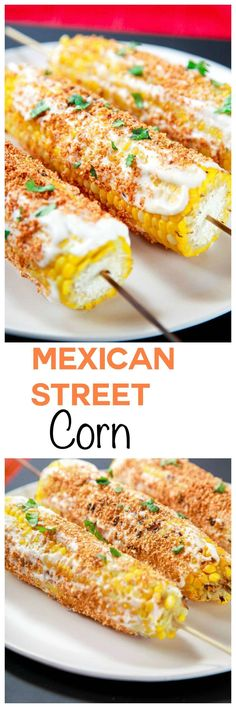 Best Mexican Street Corn aka Elote Recipe: Sweet corn topped with crumbly cotija cheese and sprinkled with just the right amount of spice. The best corn you've ever had guaranteed! #mexicanfoodrecipes