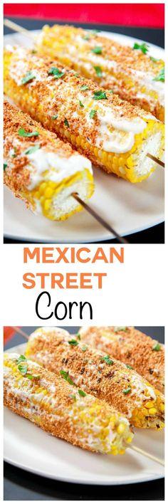 Es el maiz en Mexico.  Es la comida popular en las calles de Mexico.  Tiene queso y chile.  Es muy dulce.