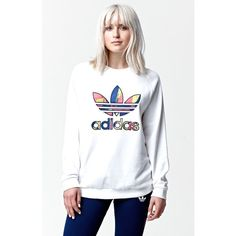 Adidas Paris Logo Crew Neck Sweatshirt featuring polyvore, fashion, clothing, tops, hoodies, sweatshirts, women tops, crewneck sweatshirt, white crop top, white crew neck sweatshirt and white tops