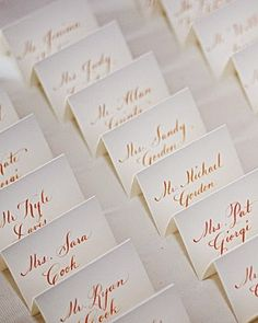 "See the ""Calligraphed Place Cards"" in our Real Weddings with Orange Ideas gallery Wedding Signage, Wedding Seating, Wedding Table, Our Wedding, Wedding Ideas, Wedding Inspiration, Wedding Reception, Wedding Photos, Wedding Decorations"