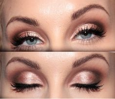 Golden pink and reddish brown makeup- Bring out the Blues!