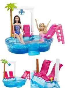 Swimming Pool Barbie Doll Slide Glam Set Summer New Playset Pink Beach Summer #Mattel