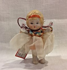 Antique Bisque Doll, Jointed Arms, Frozen Legs, Original Clothes--1920s Gibson Gift Tag Attached