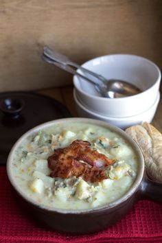 Clam Chowder Topped with Pancetta - Erren's Kitchen