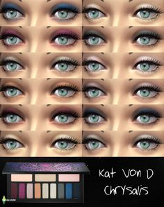 Kat Von D Chrysalis Eyeshadow Palette for TS4! Standalone eyeshadow set with swatches. download here