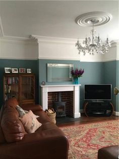 Living room walls in Oval Room Blue by Farrow & Ball 1930s Living Room, Victorian Living Room, New Living Room, My New Room, Home And Living, 1930s House Interior Living Rooms, Cosy Living Rooms, Brown Living Room Paint, Dado Rail Living Room