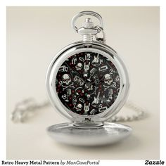 Retro Heavy Metal Pattern Pocket Watch Personalized Pocket Watch, Pocket Watches, Personal Shopping, Make A Gift, Cool Watches, Heavy Metal, Portal, I Shop, Quartz