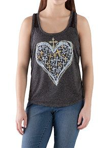 Mesh Back Heart and Cross Graphic Tank