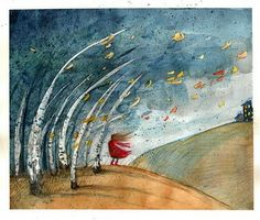 Il·lustrant el vent / Ilustrando el viento / Illustrating the wind Kids Watercolor, Watercolor Artwork, Spring Projects, Art Projects, Autumn Trees, Autumn Leaves, Sous Le Vent, Blowing Wind, Blowin' In The Wind