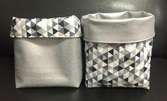 Panier de rangement en tissus coton et simili cuir