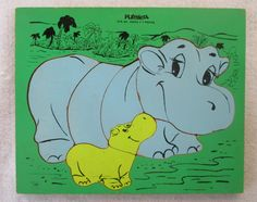 Hippo Mother and Baby PlaySkool Puzzle 275-38 Vintage 60's, Green Blue Yellow, Wood Manipulative, Nursery Child's Decor by HobbitHouse on Etsy