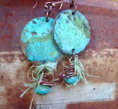 ❥ Mesa Verde turquoise patina copper earrings