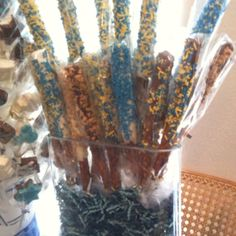 Decorated chocolate dipped pretzels for our annual Hannukah party