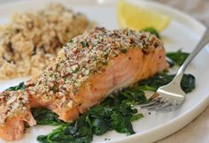 PERFECT MOTHERS DAY RECIPE - This baked salmon with a honey mustard glaze and pecan-panko crust takes just 20 minutes to make.