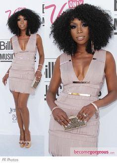 Lovin' the look.  Brandy in Herve Leger Fringe Mini Dress
