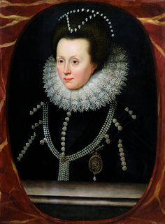During Paris Tableau 2014, Derek Johns of London will present this portrait by William Larkin of ca. 1615. Elizabeth Drury, Lady Burghley, is portrayed in black with a jewelled locket with the monogram RD. She probably commissioned the painting as a mourning portrait after her brother Robert Drury died in 1615. Black was however also a fashionable colour for a lady at the time.