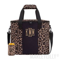 personalized cooler in leopard Marley Lilly, Keep Cool, Big Game, Summer Sun, Tailgating, Gym Bag, Shoulder Strap, Bags, Breeze