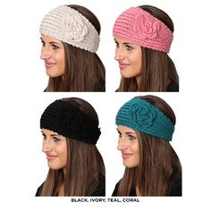 4-Pack: Crocheted Fashion Headbands with Flower Accent - Assorted Colors at 72% Savings off Retail! http://vnlink.co/SKapsLR
