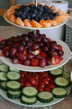 the colors! I'd do all fruit or all veggies... never thought of using my 3 tier stand this way! I love the idea...