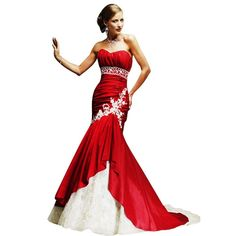 Red and white Ball gown red prom dresses