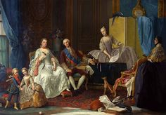 Madame Elisabeth de France, Duchess of Parma (1727-1759), first legitimate child of Louis XV, with her husband Felipe of Parma and their younger children, the future Ferdinand I of Parma and Maria Luisa, the future Queen of Spain, c. 1755 by Giuseppe Baldrighi (1723-1803)