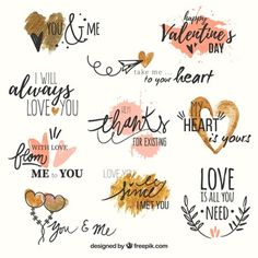Set of love phrases with watercolor hearts Free Vector Love Stickers, Printable Stickers, Printable Planner, Planner Stickers, Free Printables, Frases Love, Watercolor Heart, Diy Gift Box, Love Phrases