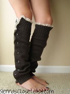 Love her creations! Beautiful leg warmers with lace and buttons!  So many fun designs!!! :)  And...wear the lace up at the knee or down at the ankle - so versatile!
