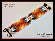 Ethnic Four - LOOM CUFF is a Loom Design that has been designed for the use of Miyuki Round Rocailles beads This pattern was tested by Steve Loom Bracelet Patterns, Bead Loom Bracelets, Bead Loom Patterns, Beading Patterns, Native American Patterns, Native American Beadwork, Collar Indio, Beadwork Designs, Seed Bead Jewelry
