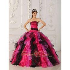 Wonderful Multi-color Quinceanera Dress Strapless Organza Appliques... via Polyvore