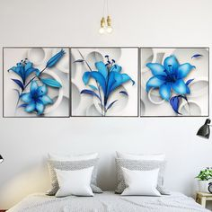 5 Piece Canvas Art, Small Canvas Paintings, Lily Painting, Flower Painting Canvas, Lotus Flower Art, Panel Art, Painting Lessons, Wall Art Pictures, Diy Wall Art