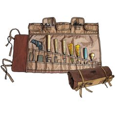 The Fire Hose Tool Roll from Duluth Trading Company has 20 slots for tools plus 5 small parts pockets with hook-and-loop tabbed flaps.
