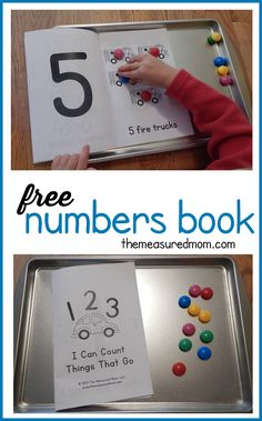 Number Sense and Operations Free numbers book for kids - my toddler loves this interactive book about things that go! Great to use alongside a transportation unit. Teaching Numbers, Numbers Preschool, Free Preschool, Math Numbers, Preschool Learning, Early Learning, In Kindergarten, Preschool Activities, Kids Numbers