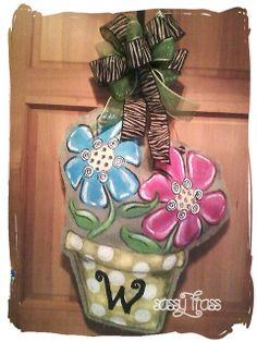 Whimsical Summer Flower Pot by SassyFrassOriginals on Etsy, $50.00 Burlap Christmas Ornaments, Burlap Art, Flower Cut Out, Burlap Projects, Summer Flowers, Decoration, 4th Of July Wreath, Decorative Items, Flower Pots