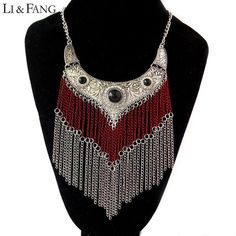 Wide Gypsy and Bohemian Tassel Necklace