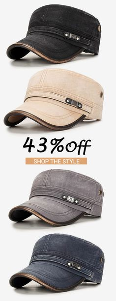 9efa7b8698b New fashion-Men Outdoor Cotton Sunshade Military Army Cap Casual Adjustable  Durable Flat Top Hat