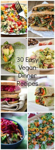 30 Easy Vegan Dinner Recipes | www.PancakeWarriors.com
