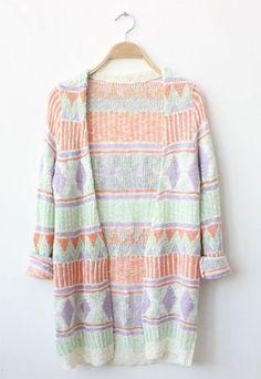 Sweet Colorful Diamond Check Long Knit Cardigan