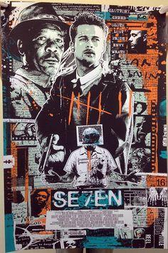 Seven AP Screen Print Poster Signed by James Rheem Davis Films Cinema, Cinema Posters, Film Posters, Best Movie Posters, Movie Poster Art, Art Vintage, Vintage Movies, Screen Print Poster, Kunst Poster