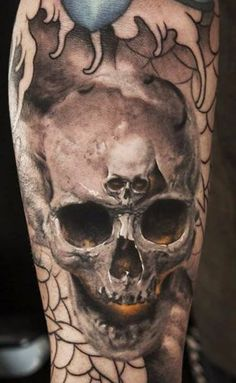 Tattoo and tattoo artists have always been fond of dark imagery in their work. Naturally, skulls are one of the most popular tattoos. One of the things that is so awesome about skull tattoos is tha. 3d Tattoos, Badass Tattoos, Sweet Tattoos, Skull Tattoos, Body Art Tattoos, Anchor Tattoos, Girly Tattoos, Awesome Tattoos, Tattoo Ink