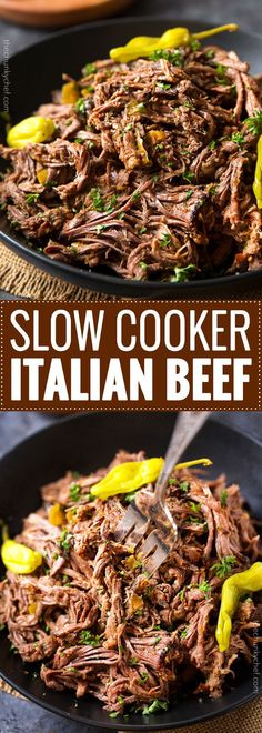 Slow Cooker Shredded Italian Beef | Tangy and spicy, this Italian beef is easily...
