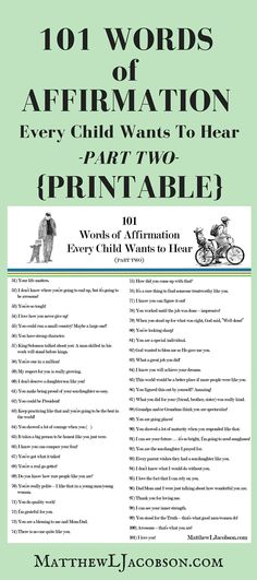 Affirm your Children every day! Great list of affirmations (part 2 of 2) FREE PRINTABLE