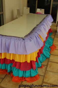 Rainbow Ruffle Tablecloth DIY