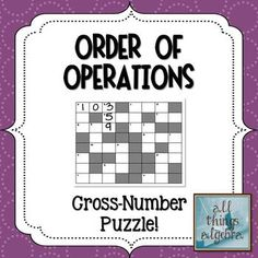 Order of Operations Cross-Number Puzzle ($2)