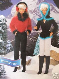 Crochet Barbie Fashion Doll Pattern  WINTER FUN ~ Jackets, Boots, Pants, Hood +