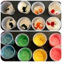 A safe and non-toxic way for babies and toddlers to explore. The Chirping Moms: Fun With Yogurt Paint Baby Sensory, Sensory Activities, Craft Activities For Kids, Infant Activities, Crafts For Kids, Sensory Play, Nutrition Activities, Daycare Crafts, Preschool Art