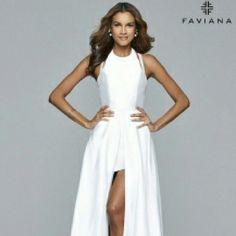 White Satin High/Low Dress